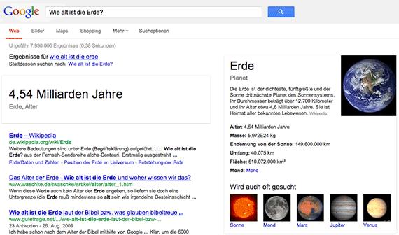 Google Conversational Search: Wie alt ist die Erde?