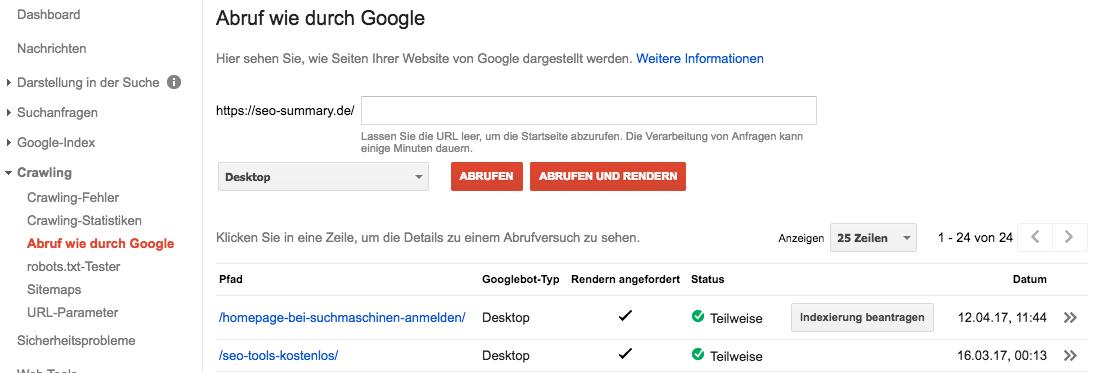 Abruf wie durch Google: Indexierung beantragen