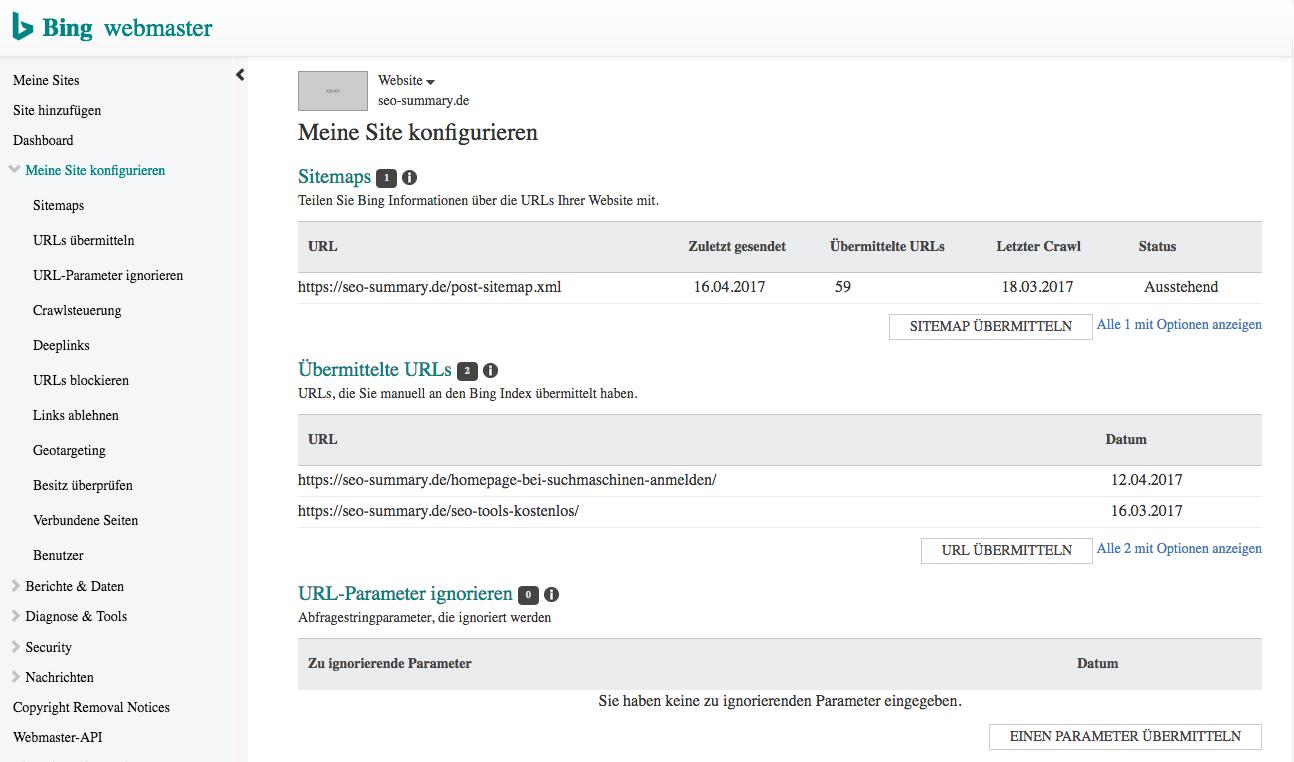 Bing Webmaster Toos: Sitemap und URLs übermitteln