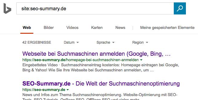 Bing Indexierung prüfen