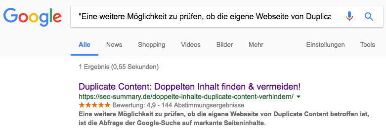 Duplicate Content Analyse mit Google