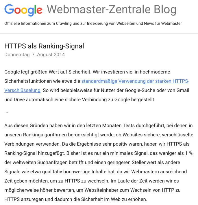 HTTPS als Ranking Signal (Google Webmaster Zentrale Blog)