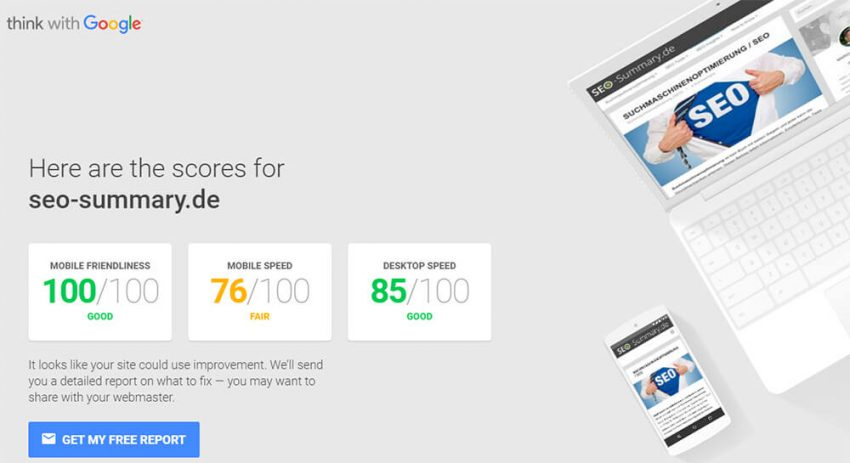 Mobile Website Speed Testing Tool von Google