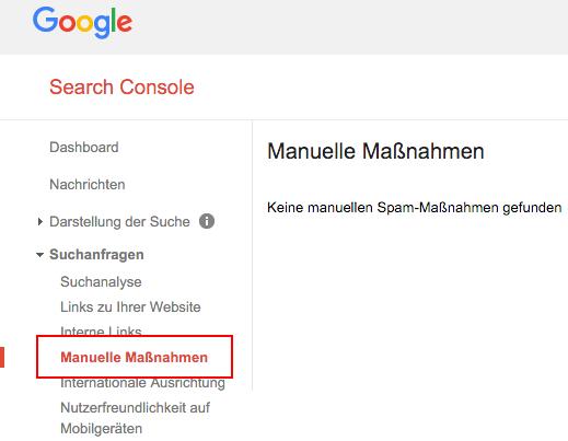 Google Search Console - Manuelle Maßnahmen
