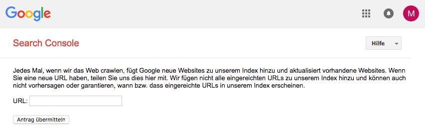 Google Seach Console: URL anmelden