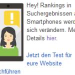Hinweis auf Google Mobile Update