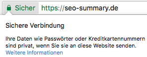 Website HTTPS Kenzeichnung in Chrome