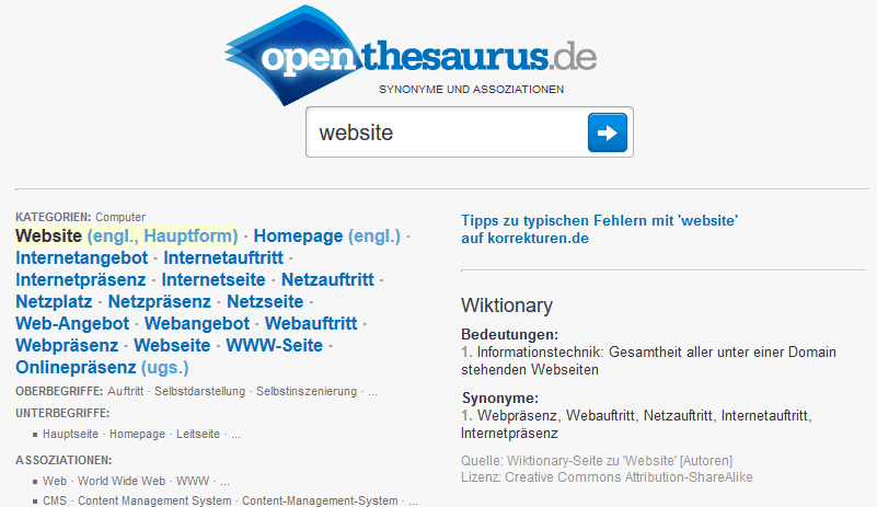 OpenThesaurus: Keyword Synonyme und Assoziationen