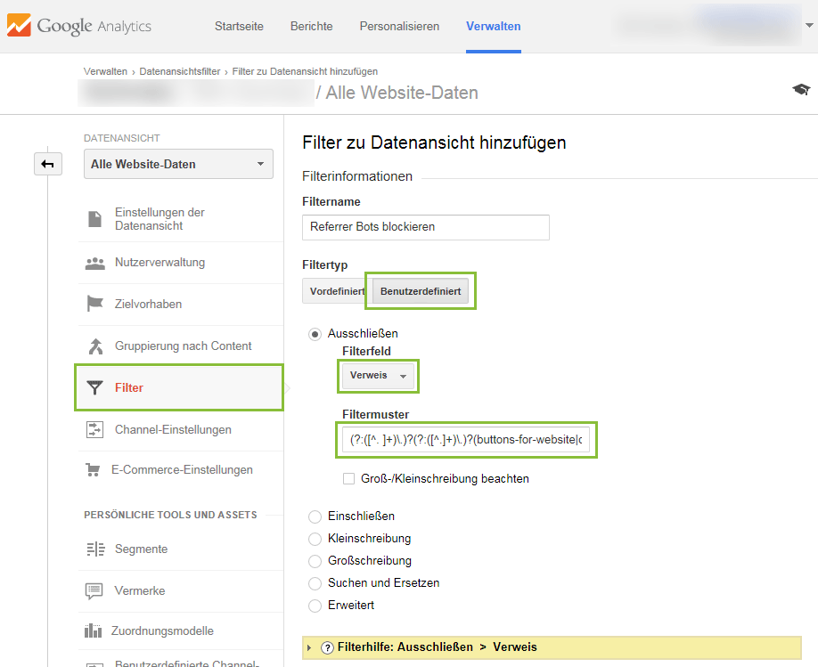 Referrer Spam Filter in Google Analytics