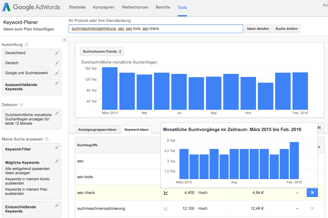 SEO Tool: Google AdWords Keyword-Planer