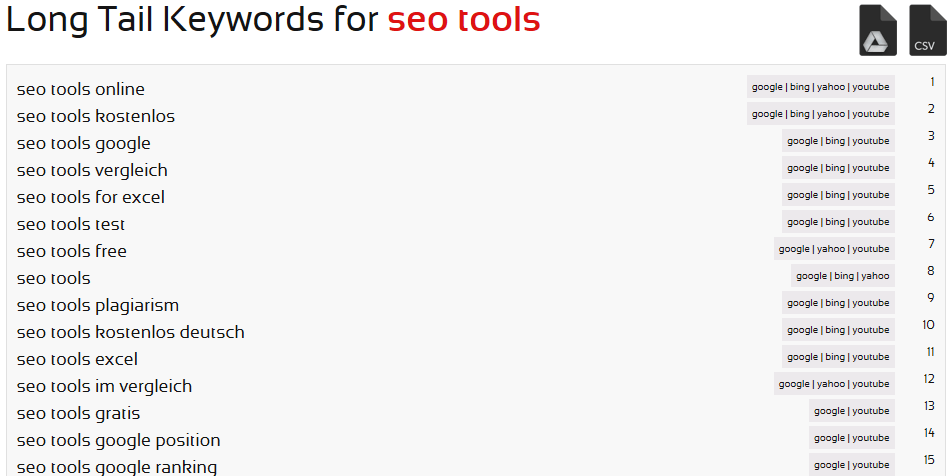 SEORCH Long Tail Keyword Recherche