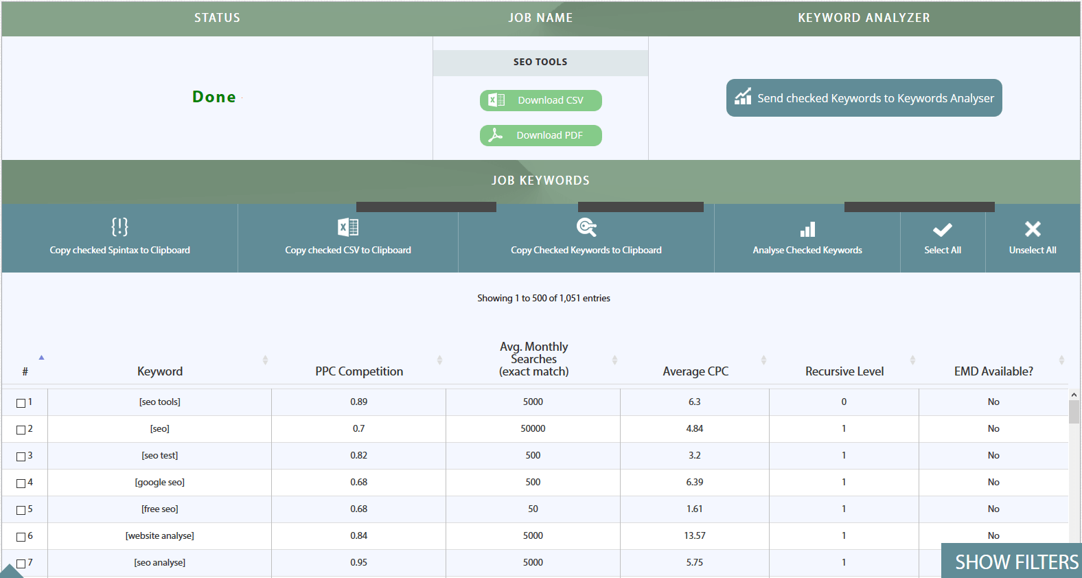 Termexplorer Keyword Analyse Tool