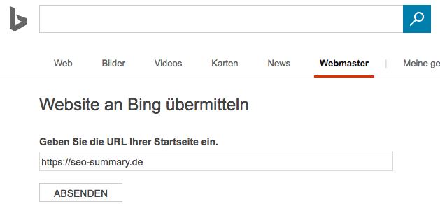Website an Bing übermitteln