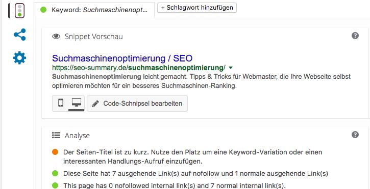Yoast SEO Tool (WordPress Plugin)